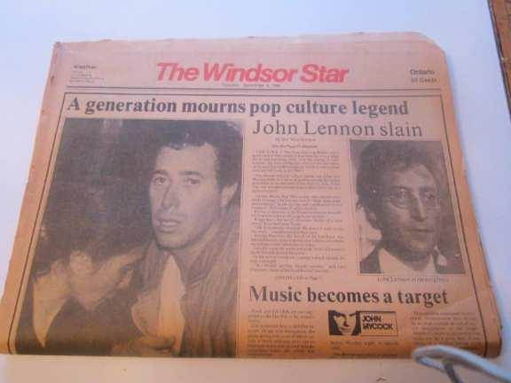 Windsor Star newspaper reporting John Lennon's death