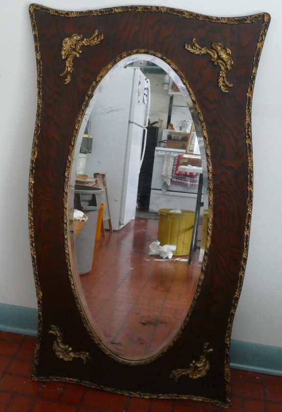 Beveled mirror with oak frame