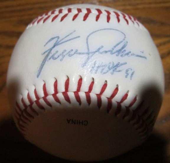 Fergie Jenkins Original Autographed Baseball HOF 91