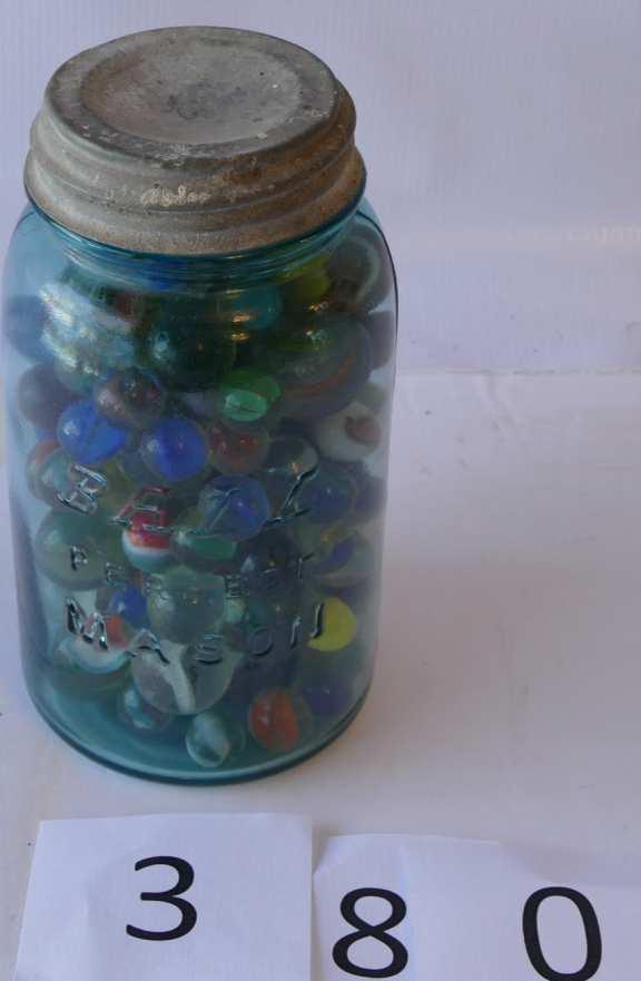 Jar of various Marbles