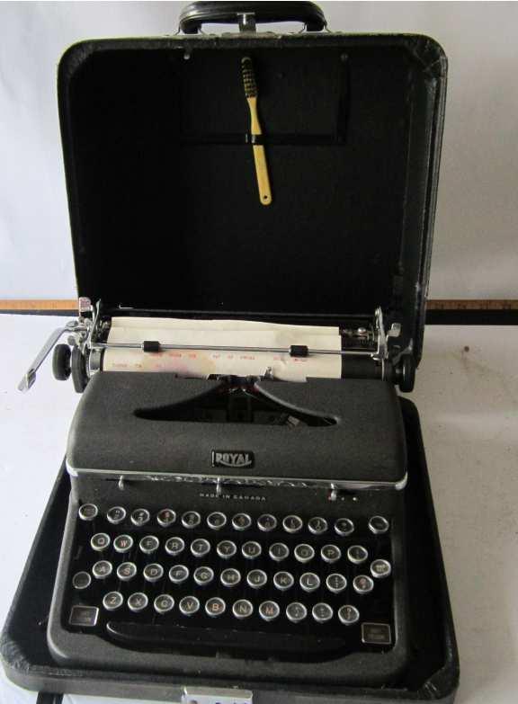 Royal typewriter with case