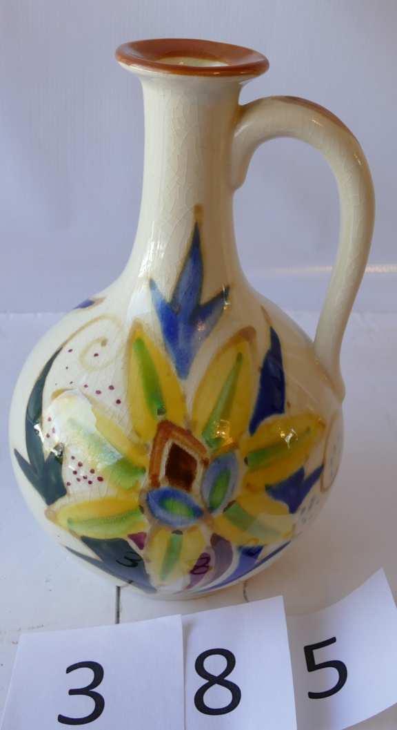 Vintage One Handled Glazed China Vase