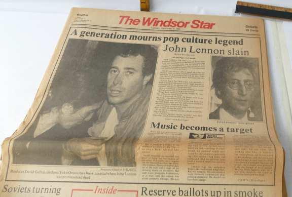 """Windsor Star 1980 Headline Reads """"John Lennon Slain"""""""