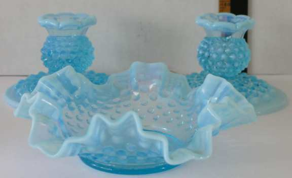 Blue Knobby Glass Candle Holders