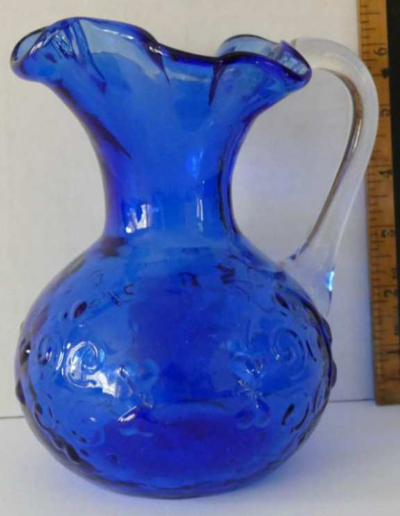 Fancy Blue Glass Pitcher