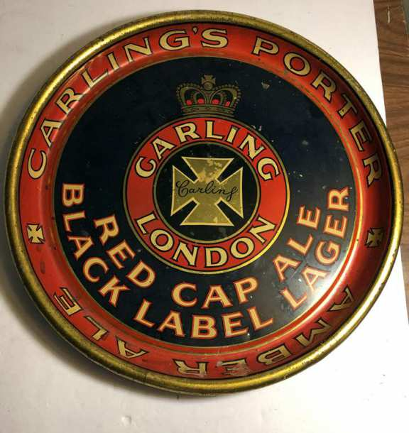 Rare Carling Red Cap Black Label Lager Beer Tray (probably 1940's)