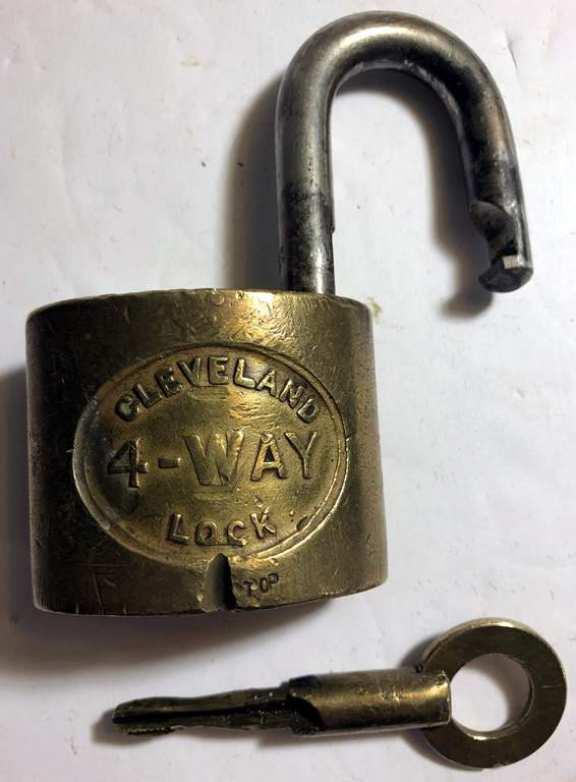 Rare Cleveland 4 Way Lock W Original Key