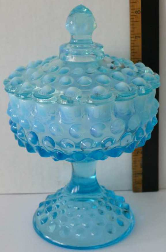 Vintage Blue Knobby Glass Candy Dish