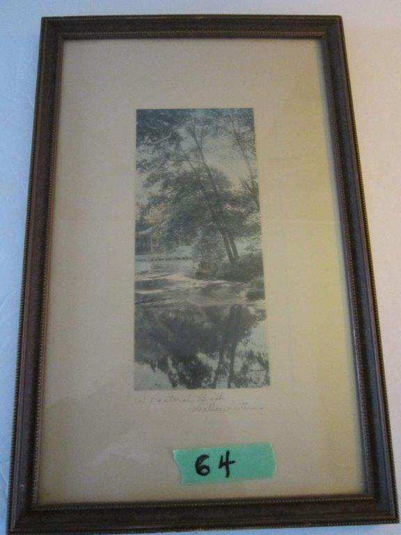Wallace Nutting photograph with watercolor accents & signature