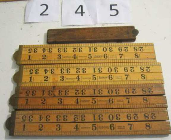 6 wooden 3' fold-up rulers