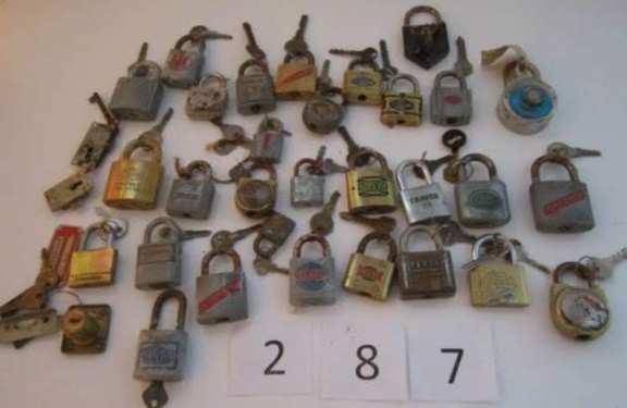 Assorted padlocks with keys