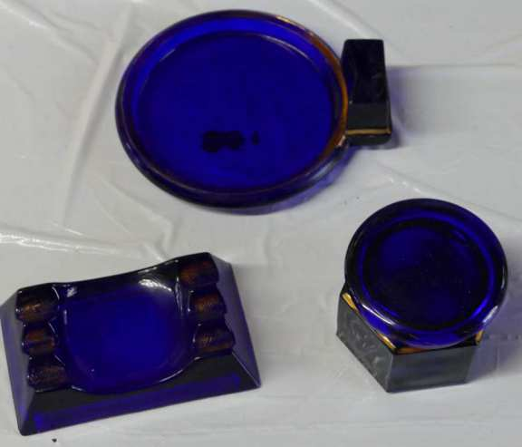 Cobalt Blue Glass with Gold Trim