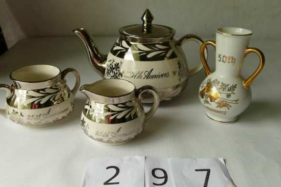 English 25th Anniversary Teapot Set