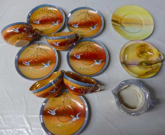 Hand Painted Cups & Saucers