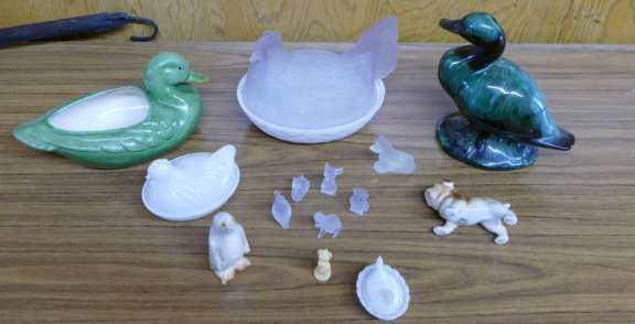 Milk Glass Hen & Other Animal Figurines